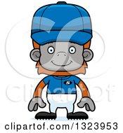 Cartoon Happy Orangutan Monkey Baseball Player