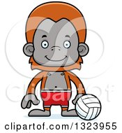Clipart Of A Cartoon Happy Orangutan Monkey Beach Volleyball Player Royalty Free Vector Illustration