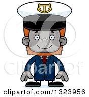 Cartoon Happy Orangutan Monkey Captain