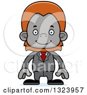 Cartoon Happy Orangutan Monkey Business Man