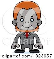 Clipart Of A Cartoon Happy Orangutan Monkey Business Man Royalty Free Vector Illustration