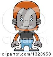 Cartoon Happy Casual Orangutan Monkey