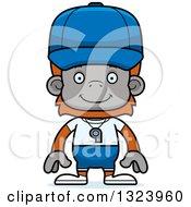 Clipart Of A Cartoon Happy Orangutan Monkey Sports Coach Royalty Free Vector Illustration