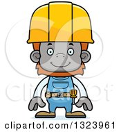 Cartoon Happy Orangutan Monkey Construction Worker