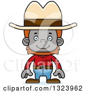 Clipart Of A Cartoon Happy Cowboy Orangutan Monkey Royalty Free Vector Illustration