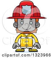 Clipart Of A Cartoon Happy Orangutan Monkey Firefighter Royalty Free Vector Illustration
