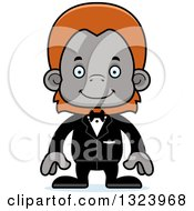 Clipart Of A Cartoon Happy Orangutan Monkey Groom Royalty Free Vector Illustration