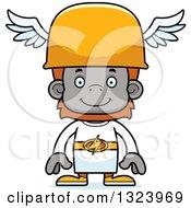 Clipart Of A Cartoon Happy Orangutan Hermes Monkey Royalty Free Vector Illustration