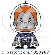 Cartoon Happy Futuristic Space Orangutan Monkey
