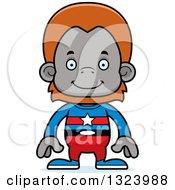 Cartoon Happy Orangutan Monkey Super Hero