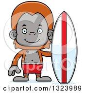 Cartoon Happy Orangutan Monkey Surfer