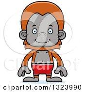 Cartoon Happy Orangutan Monkey Swimmer