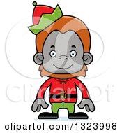 Cartoon Happy Christmas Elf Orangutan Monkey