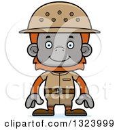 Cartoon Happy Orangutan Monkey Zookeeper