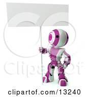 Pink And White Striped Metal Robot Sitting On The Ground And Holding A Blank Sign Clipart Illustration