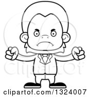 Lineart Clipart Of A Cartoon Black And White Mad Orangutan Monkey Business Man Royalty Free Outline Vector Illustration