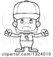 Lineart Clipart Of A Cartoon Black And White Mad Orangutan Monkey Sports Coach Royalty Free Outline Vector Illustration