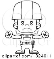 Cartoon Black And White Mad Orangutan Monkey Construction Worker