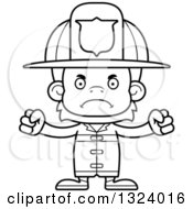 Lineart Clipart Of A Cartoon Black And White Mad Orangutan Monkey Firefighter Royalty Free Outline Vector Illustration