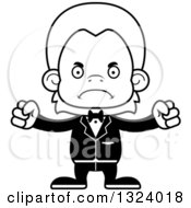 Lineart Clipart Of A Cartoon Black And White Mad Orangutan Monkey Groom Royalty Free Outline Vector Illustration