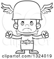 Lineart Clipart Of A Cartoon Black And White Mad Orangutan Hermes Monkey Royalty Free Outline Vector Illustration