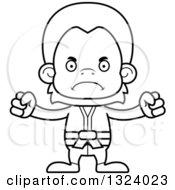 Lineart Clipart Of A Cartoon Black And White Mad Karate Orangutan Monkey Royalty Free Outline Vector Illustration