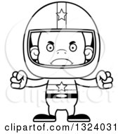 Lineart Clipart Of A Cartoon Black And White Mad Orangutan Monkey Race Car Driver Royalty Free Outline Vector Illustration