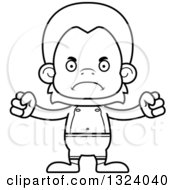 Lineart Clipart Of A Cartoon Black And White Mad Orangutan Monkey Swimmer Royalty Free Outline Vector Illustration