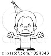 Lineart Clipart Of A Cartoon Black And White Mad Orangutan Monkey Wizard Royalty Free Outline Vector Illustration
