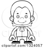 Lineart Clipart Of A Cartoon Black And White Happy Orangutan Monkey Business Man Royalty Free Outline Vector Illustration