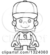 Lineart Clipart Of A Cartoon Black And White Happy Orangutan Monkey Sports Coach Royalty Free Outline Vector Illustration