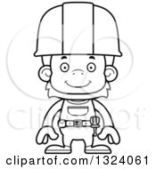 Cartoon Black And White Happy Orangutan Monkey Construction Worker