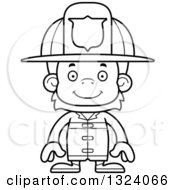 Lineart Clipart Of A Cartoon Black And White Happy Orangutan Monkey Firefighter Royalty Free Outline Vector Illustration