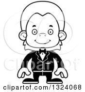 Lineart Clipart Of A Cartoon Black And White Happy Orangutan Monkey Groom Royalty Free Outline Vector Illustration