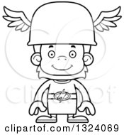 Lineart Clipart Of A Cartoon Black And White Happy Orangutan Hermes Monkey Royalty Free Outline Vector Illustration