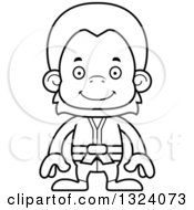 Lineart Clipart Of A Cartoon Black And White Happy Karate Orangutan Monkey Royalty Free Outline Vector Illustration