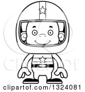 Lineart Clipart Of A Cartoon Black And White Happy Orangutan Monkey Race Car Driver Royalty Free Outline Vector Illustration