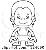 Lineart Clipart Of A Cartoon Black And White Happy Orangutan Monkey Swimmer Royalty Free Outline Vector Illustration