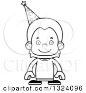 Lineart Clipart Of A Cartoon Black And White Happy Orangutan Monkey Wizard Royalty Free Outline Vector Illustration