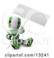 Green And White Striped Metal Robot Sitting On The Ground And Holding A Blank Sign Clipart Illustration