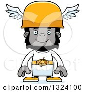 Clipart Of A Cartoon Happy Gorilla Hermes Royalty Free Vector Illustration