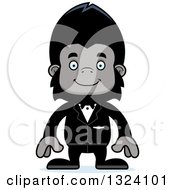 Clipart Of A Cartoon Happy Gorilla Groom Royalty Free Vector Illustration