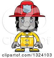 Clipart Of A Cartoon Happy Gorilla Firefighter Royalty Free Vector Illustration