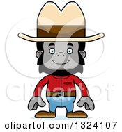Clipart Of A Cartoon Happy Gorilla Cowboy Royalty Free Vector Illustration
