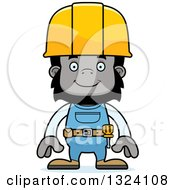 Cartoon Happy Gorilla Construction Worker
