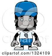 Clipart Of A Cartoon Happy Gorilla Sports Coach Royalty Free Vector Illustration