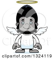 Clipart Of A Cartoon Happy Gorilla Angel Royalty Free Vector Illustration