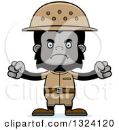 Clipart Of A Cartoon Mad Gorilla Zookeeper Royalty Free Vector Illustration