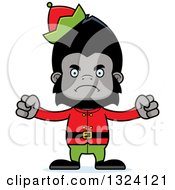 Clipart Of A Cartoon Mad Gorilla Christmas Elf Royalty Free Vector Illustration