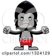 Clipart Of A Cartoon Mad Gorilla Swimmer Royalty Free Vector Illustration